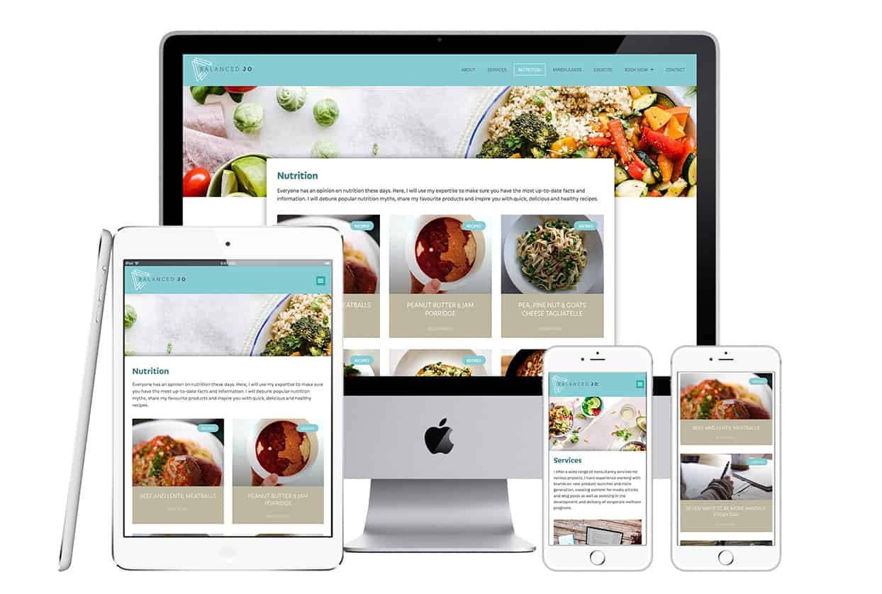 Nutritional website for Balanced Jo