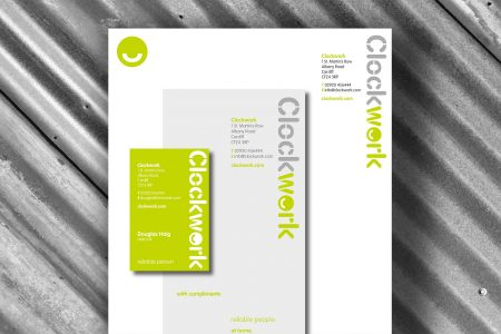 Clockwork stationery branding and logo design